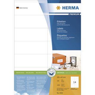 Herma 4452 Premium Universal-Etiketten 10.5x4.2 cm (100 Blatt (1400 Etiketten))