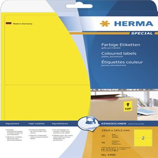 Herma 4496 gelb Universal-Etiketten 19.96x14.35 cm (20 Blatt (40 Etiketten))