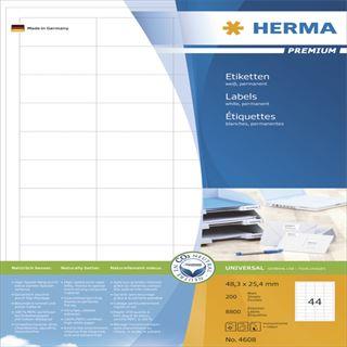 Herma 4608 Premium Universal-Etiketten 4.83x2.54 cm (200 Blatt (8800 Etiketten))