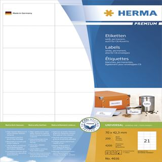 Herma 4616 Premium Universal-Etiketten 7.0x4.23 cm (200 Blatt (4200 Etiketten))