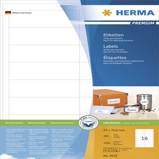 Herma 4619 Premium Universal-Etiketten 9.7x3.38 cm (200 Blatt (3200 Etiketten))