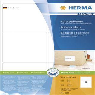 Herma 4653 Premium Adressetiketten 9.91x9.31 cm (100 Blatt (600 Etiketten))