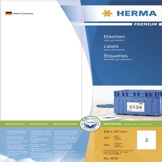 Herma 4658 Premium Universal-Etiketten 10.5x29.7 cm (100 Blatt (200 Etiketten))
