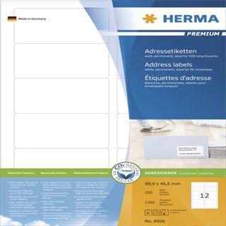 Herma 4666 Adressetiketten 8.89x4.66 cm (100 Blatt (1200 Etiketten))