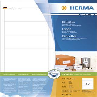 Herma 4669 Premium Universal-Etiketten 9.7x4.23 cm (100 Blatt (1200 Etiketten))
