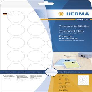 Herma 4686 Folie rund Transparent-Etiketten 4x4 cm (25 Blatt (600 Etiketten))