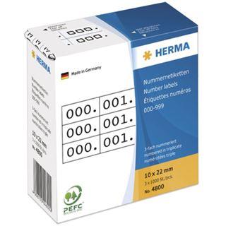 Herma 4800 weiß/schwarz selbstklebend 3fach Nummernetiketten 1x2.2 cm (3000 Stück (000-999))