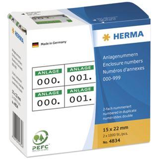 Herma 4834 selbstklebend 2fach weiß/grün Anlagenummern 1.5x2.2 cm (2000 Stück (000-999))