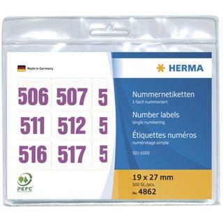 Herma 4862 violett selbstklebend Nummernetiketten 1.9x2.7 cm (500 Stück (501-1000))