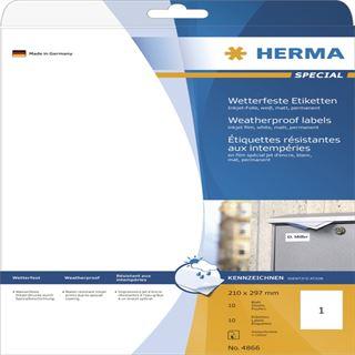 Herma 4866 wetterfest Inkjet-Etiketten 21.0x29.7 cm (10 Blatt (10 Etiketten))