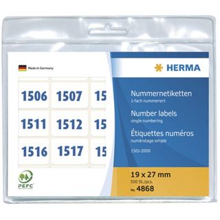 Herma 4868 blau selbstklebend Nummernetiketten 1.9x2.7 cm (500 Stück (1001-1500))