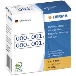 Herma 4887 blau selbstklebend doppelt Nummernetiketten 1x2.2 cm (2000 Stück (000-999))