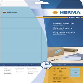 Herma 5060 blau Universal-Etiketten 10.5x4.23 cm (20 Blatt (280 Etiketten))