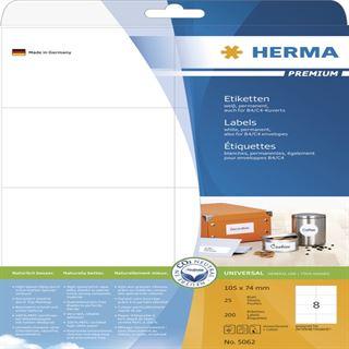 Herma 5062 Premium Universal-Etiketten 10.5x7.4 cm (25 Blatt ( 250 Etiketten))