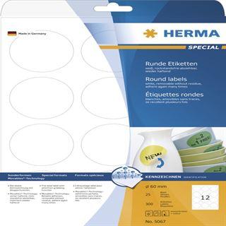 Herma 5067 rund ablösbar Universal-Etiketten 6.0x6.0 cm (25 Blatt (300 Etiketten))