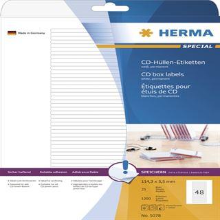 Herma 5078 Etiketten für CD-Box 11.43x5.5 cm (25 Blatt (1200 Etiketten))
