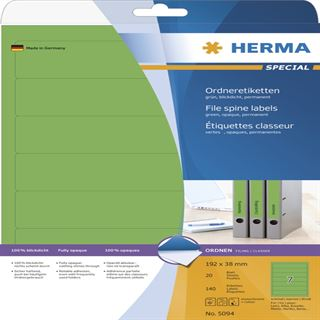 Herma 5094 blickdicht gruen Ordneretiketten 19.2x3.8 cm (20 Blatt (140 Etiketten))