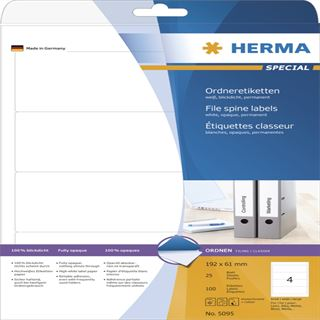 Herma 5095 blickdicht Ordneretiketten 19.2x6.1 cm (25 Blatt (100 Etiketten))