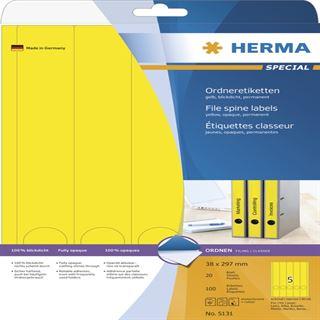 Herma 5131 blickdicht gelb Ordneretiketten 3.8x29.7 cm (20 Blatt (100 Etiketten))
