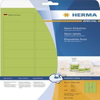 Herma 5143 neon-grün Universal-Etiketten 6.35x2.96 cm (20 Blatt (540 Etiketten))