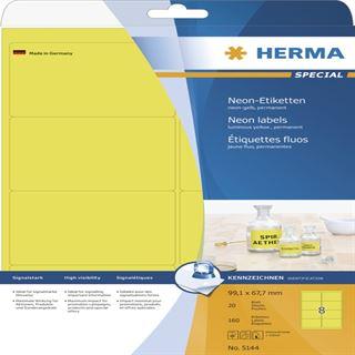 Herma 5144 neon-gelb Universal-Etiketten 9.91x6.67 cm (20 Blatt (160 Etiketten))