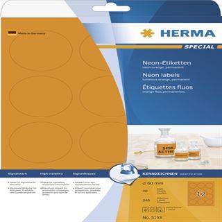 Herma 5153 neon-orange rund Universal-Etiketten 6.0x6.0 cm (20 Blatt (240 Etiketten))