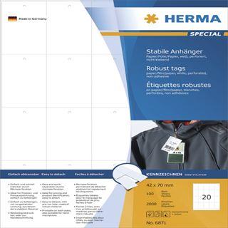 Herma Anhäng. reißfest A4 42x70 mm weiß perforiert 2000 St.