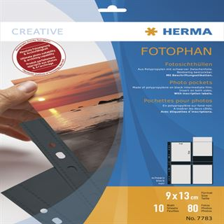 Herma Fotosichthüllen 90 x 130 mm hoch schwarz 10 Hüllen