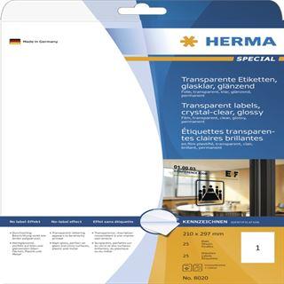 Herma 8020 transparent glasklar Transparent-Etiketten 21.0x29.7 cm (25 Blatt (25 Etiketten))