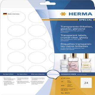 Herma 8023 glasklar rund folie Universal-Etiketten 4x4 cm (25 Blatt (600 Etiketten))