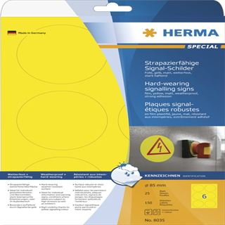Herma 8035 strapazierfähig gelb Signal-Schilder 8.5x8.5 cm (25 Blatt (150 Etiketten))