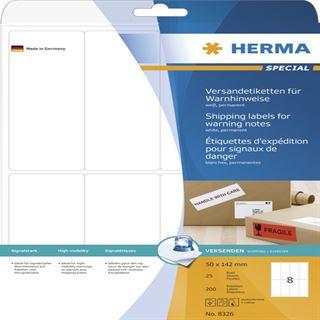 Herma 8326 Warnhinweis Versand-Etiketten 5x14.2 cm (25 Blatt (200 Etiketten))