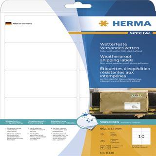 Herma 8330 extrem stark haftend Adressetiketten 9.91x5.7 cm (25 Blatt ( 250 Etiketten))