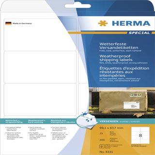 Herma 8331 extrem stark haftend Adressetiketten 9.91x6.77 cm (25 Blatt (200 Etiketten))