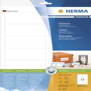 Herma 8628 Premium Universal-Etiketten 9.7x4,23 cm (10 Blatt (120 Etiketten))