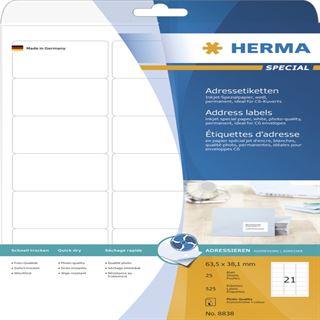 Herma 8838 Inkjet-Etiketten 6.35x3.81 cm (25 Blatt (525 Etiketten))