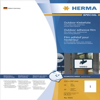 Herma 9501 extrem stark haftend wetterfest Outdoor Klebefolie 21.0x29.7 cm (50 Blatt (50 Etiketten))