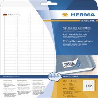 Herma 10001 Universal-Etiketten 2.54x1 cm (25 Blatt (4725 Etiketten))