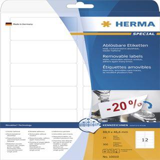 Herma 10010 ablösbar Universal-Etiketten 8.89x4.66 cm (25 Blatt (300 Etiketten))