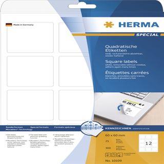 Herma 10109 quadratisch ablösbar Universal-Etiketten 6.0x6.0 cm (25 Blatt (300 Etiketten))