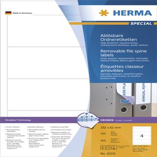 Herma 10141 ablösbar blickdicht Ordneretiketten 19.2x6.1 cm (100 Blatt (400 Etiketten))