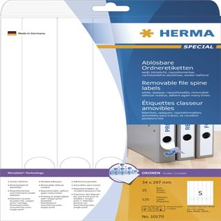 Herma 10170 ablösbar blickdicht Ordneretiketten 3.8x29.7 cm (25 Blatt (125 Etiketten))