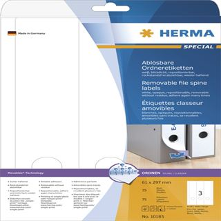 Herma 10185 ablösbar blickdicht Ordneretiketten 6.1x29.7 cm (25 Blatt (75 Etiketten))