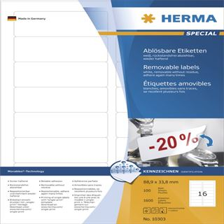 Herma 10303 ablösbar Universal-Etiketten 8.89x3.38 cm (100 Blatt (1600 Etiketten))