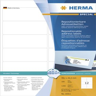 Herma 10311 repositionierbar Adressetiketten 9.91x4.23 cm (100 Blatt (1200 Etiketten))