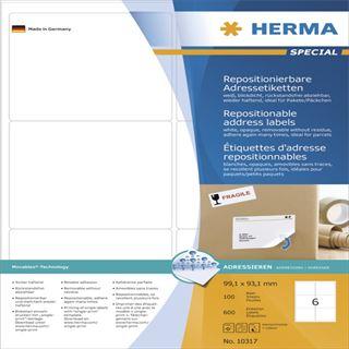 Herma 10317 repositionierbar blickdicht Adressetiketten 9.91x9.31 cm (100 Blatt (600 Etiketten))
