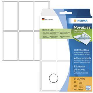 Herma 10616 ablösbar Vielzwecketiketten 3.4x6.7 cm (32 Blatt (192 Etiketten))