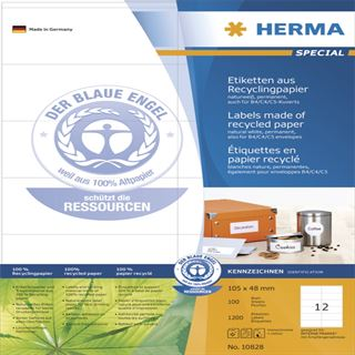 Herma 10828 Recycling Universal-Etiketten 10.5x4.8 cm (100 Blatt (1200 Etiketten))