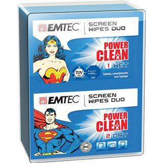 (€0,11*/1L) EMTEC Duo-Tücher Superman & Wonder Woman elektronische Geräte Reinigungstuch 20 Stück (ECCLWIPEDUO)