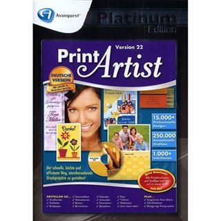Avanquest Print Artist 22 - Platinum Edition 32/64 Bit Deutsch Grafik Vollversion PC (CD)